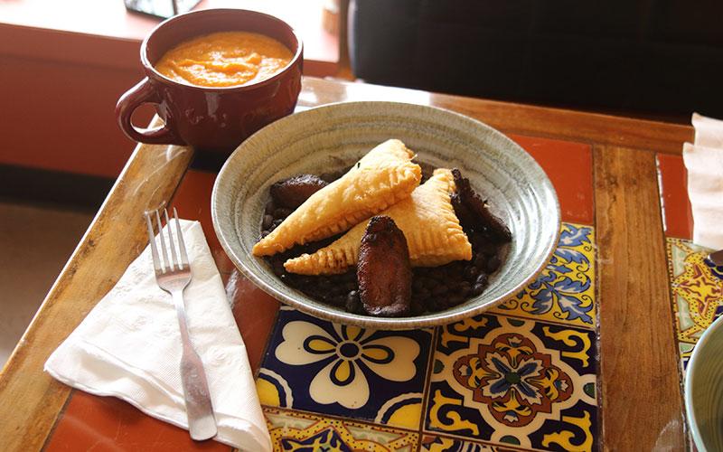 Picadillo Empanadas and gazpacho