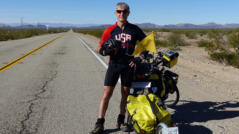 Alan Thompson, crossing the Mojave Desert.