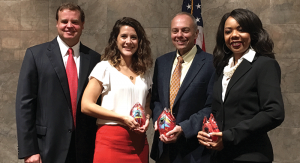 (L-R) Scott Estes (Chairman of the Board of Toledo Community Foundation), Anna Toney (Leadership Toledo), Dave Wehrmeister (Boys & Girls Clubs of Toledo), and Tracee Perryman (Center of Hope Family Services).