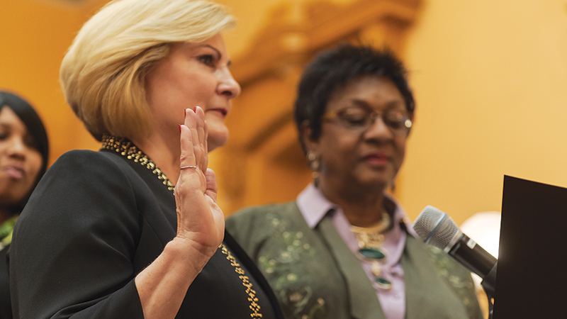 Teresa Fedor is sworn in at the Ohio Senate, representing the 11th District.