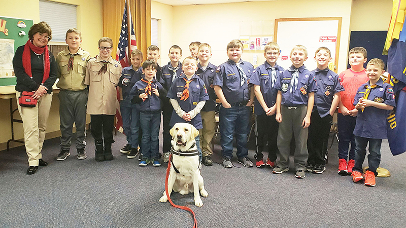 Perry with his Cub Scout pack friends